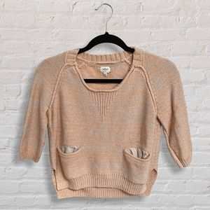 Wilfred Aritzia Cropped Peach Sweater with Pockets